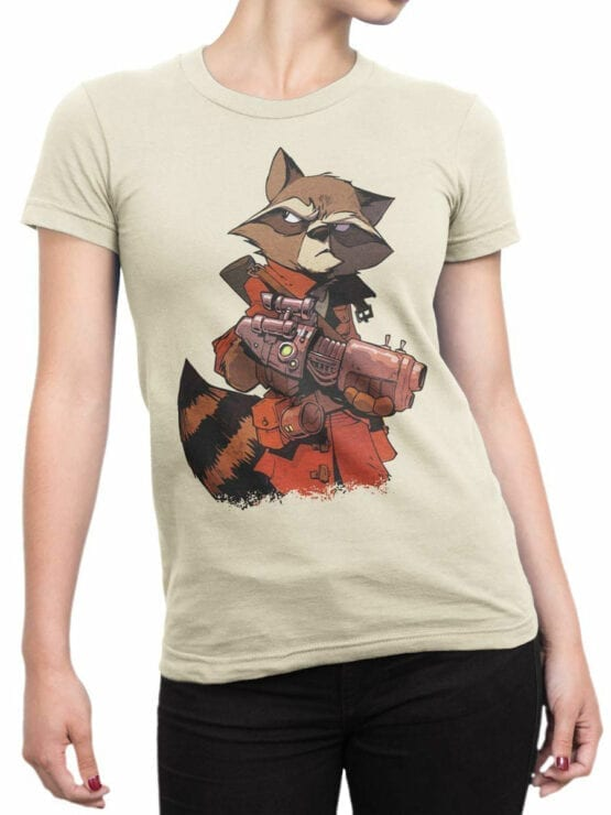 1417 Guardians of the Galaxy T Shirt Rocket Raccoon Front Woman