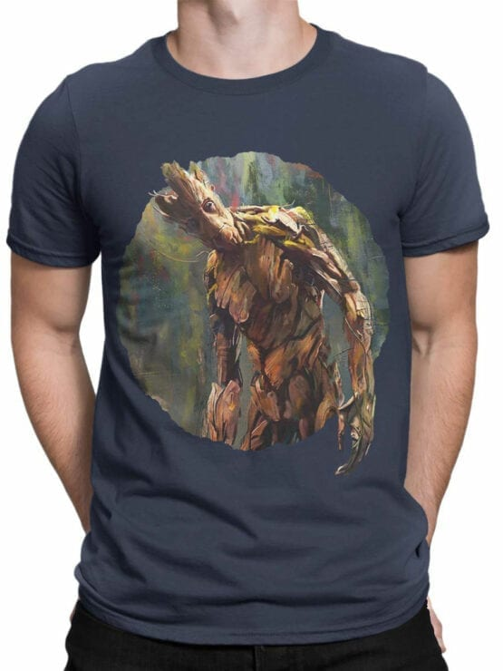1418 Guardians of the Galaxy T Shirt Groot Paint Front Man