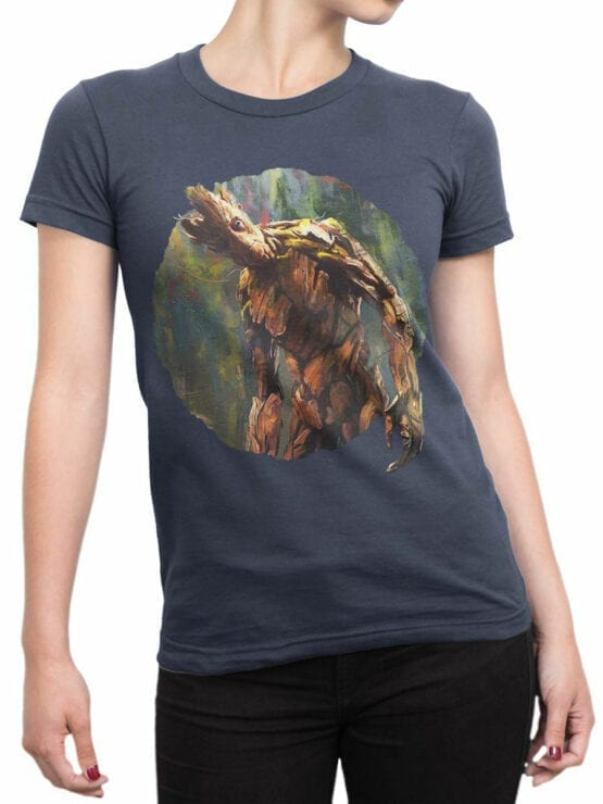 1418 Guardians of the Galaxy T Shirt Groot Paint Front Woman
