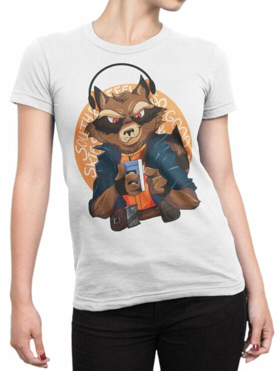 1420 Guardians of the Galaxy T Shirt Rocket Front Woman