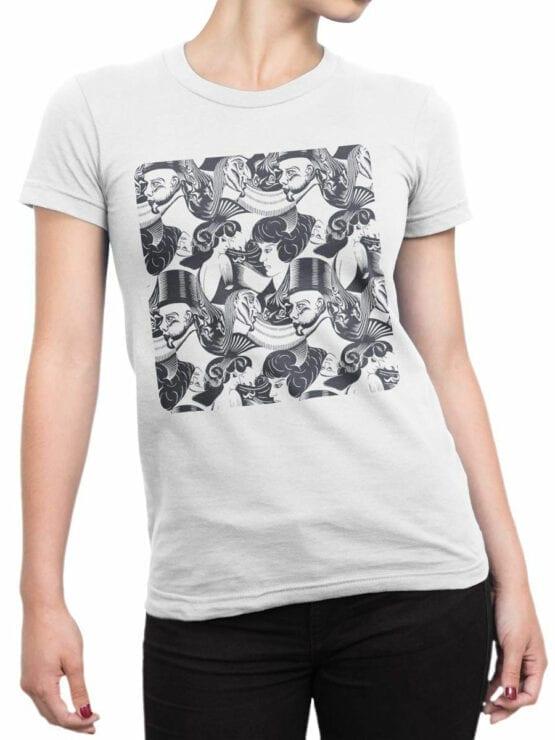 1421 Cornelis Escher T Shirt 8 Heads Front Woman