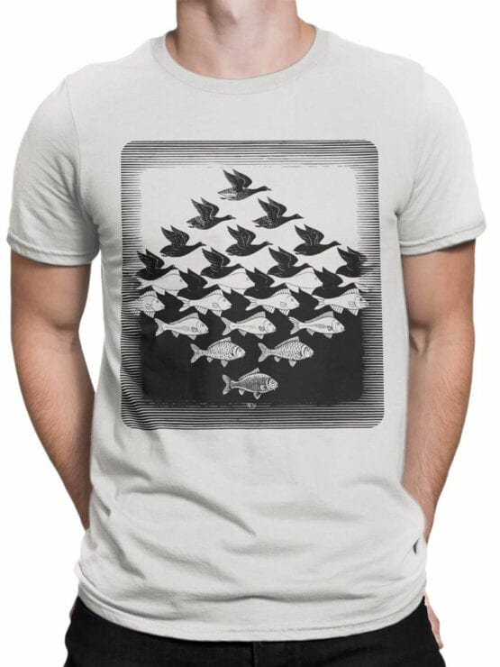 1423 Cornelis Escher T Shirt Aky and water I Front Man