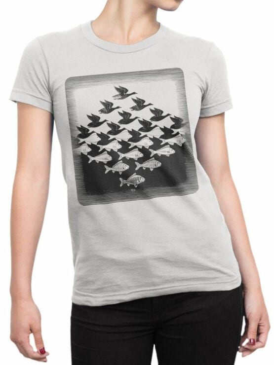1423 Cornelis Escher T Shirt Aky and water I Front Woman