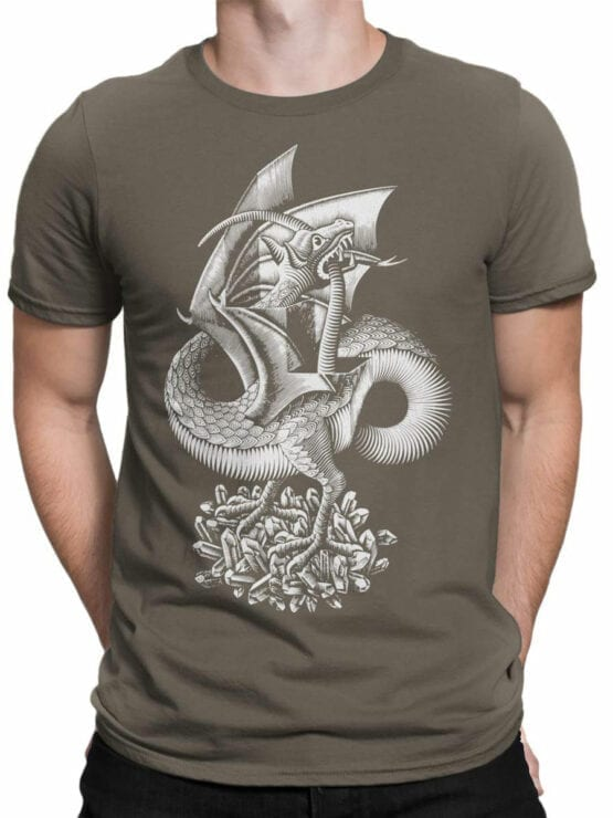 1425 Cornelis Escher T Shirt Twon Dragon Front Man
