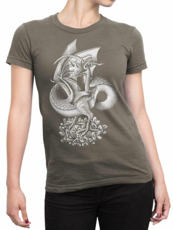 1425 Cornelis Escher T Shirt Twon Dragon Front Woman