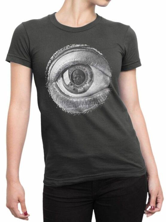 1426 Cornelis Escher T Shirt Twon Eye Front Woman