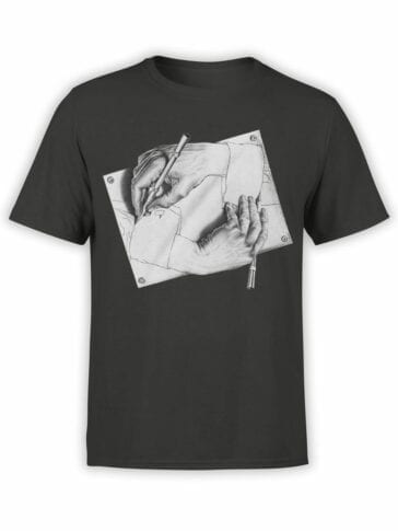 1427 Cornelis Escher T Shirt Drawing Hands Front