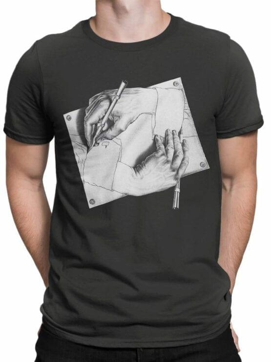 1427 Cornelis Escher T Shirt Drawing Hands Front Man