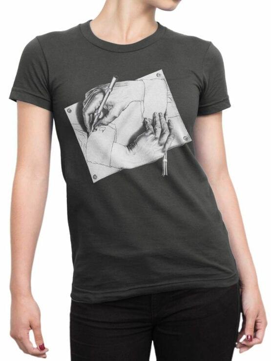 1427 Cornelis Escher T Shirt Drawing Hands Front Woman