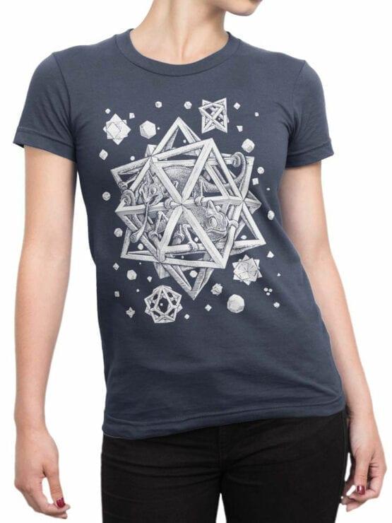 1429 Cornelis Escher T Shirt Stars Front Woman