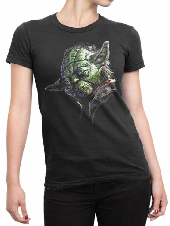 1437 Star Wars T Shirt Master Yoda Front Woman