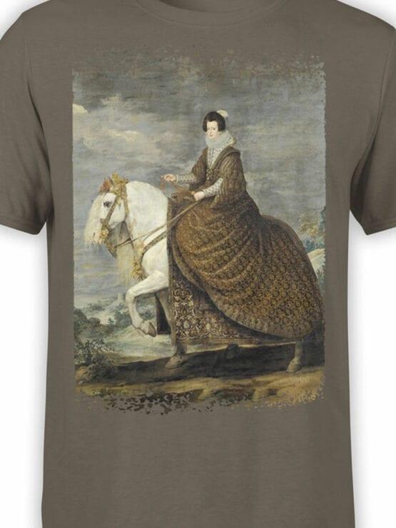 1442 Diego Velazquez T Shirt Equestrian Portrait of Elisabeth of France Front Color