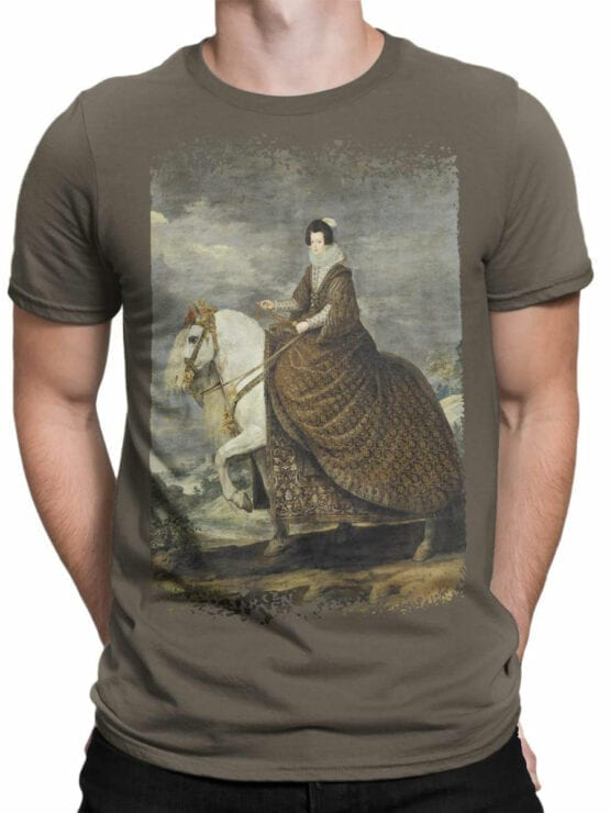 1442 Diego Velazquez T Shirt Equestrian Portrait of Elisabeth of France Front Man