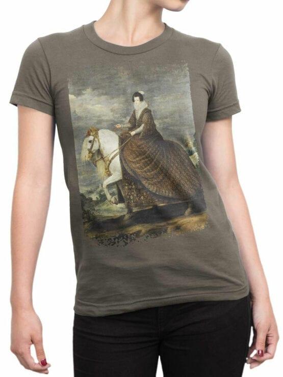 1442 Diego Velazquez T Shirt Equestrian Portrait of Elisabeth of France Front Woman