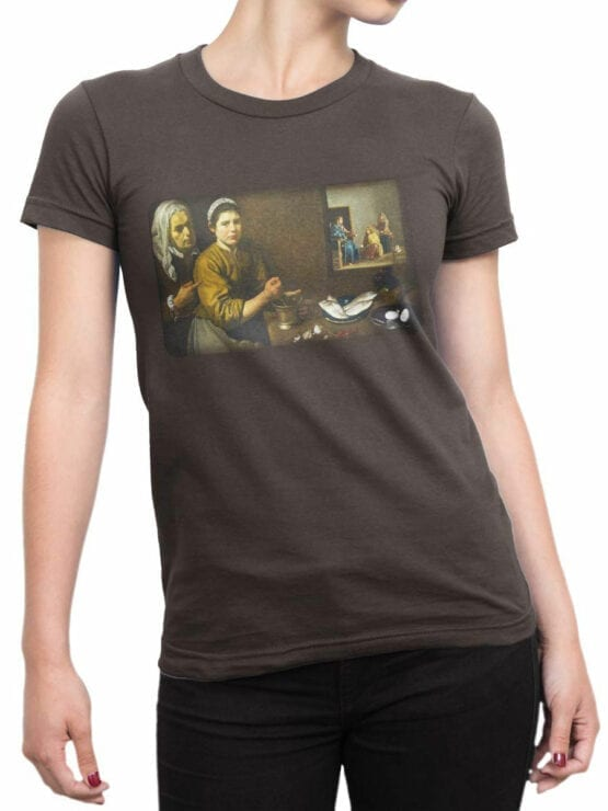 1449 Diego Velazquez T Shirt Christ in the House of Martha and Mary Front Woman
