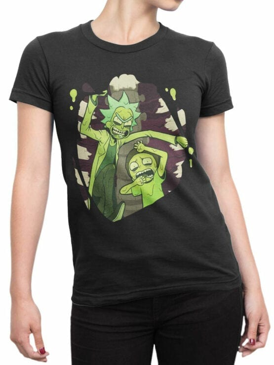 1454 Rick and Morty T Shirt Escape Front Woman