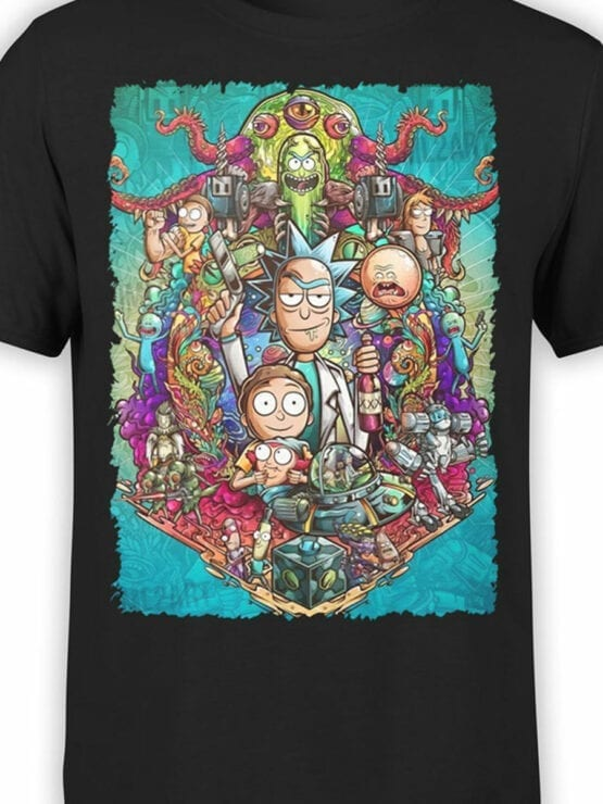 1456 Rick and Morty T Shirt Characters Front Color