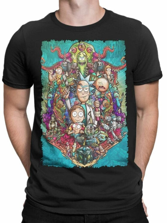 1456 Rick and Morty T Shirt Characters Front Man