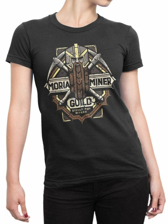 1476 The Lord of the Rings T Shirt Moria Miner Front Woman