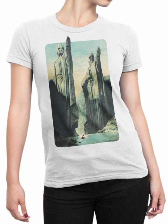 1485 The Lord of the Rings T Shirt Argonath Front Woman