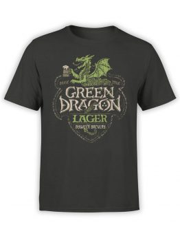 1498 The Lord of the Rings T Shirt Green Dragon Front