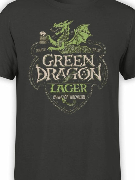 1498 The Lord of the Rings T Shirt Green Dragon Front Color
