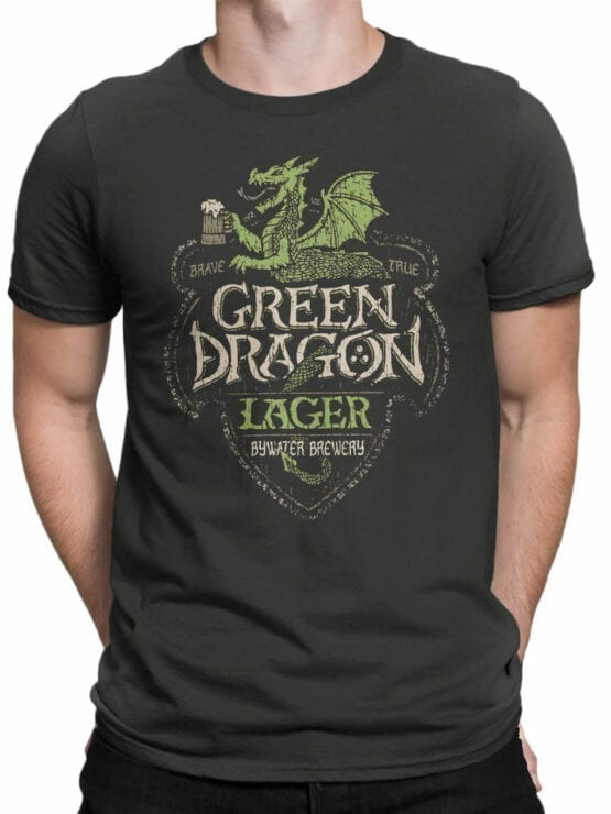 1498 The Lord of the Rings T Shirt Green Dragon Front Man