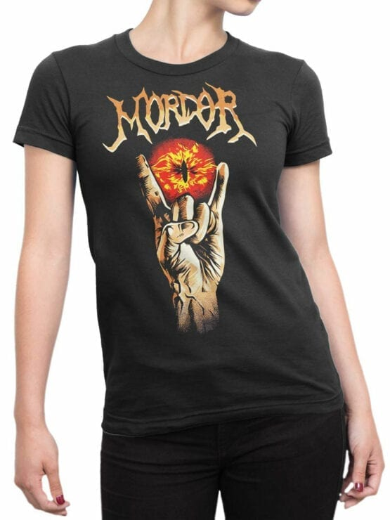 1499 The Lord of the Rings T Shirt Mordor Front Woman