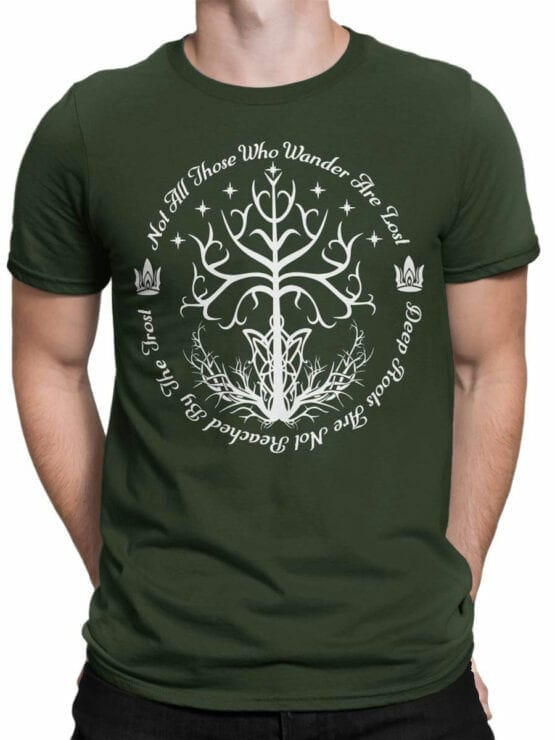 1502 The Lord of the Rings T Shirt White Tree of Gondor Front Man