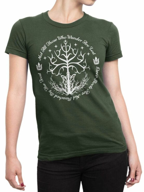 1502 The Lord of the Rings T Shirt White Tree of Gondor Front Woman
