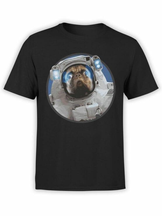 1558 NASA T Shirt Astro Pug Front
