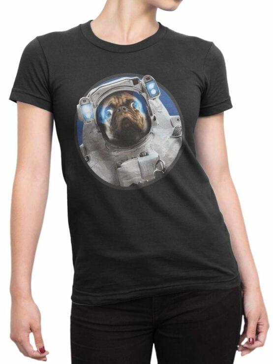1558 NASA T Shirt Astro Pug Front Woman