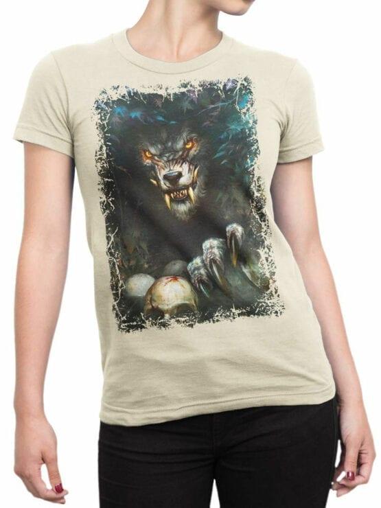 1574 World of Warcraft T Shirt Werewolf Front Woman