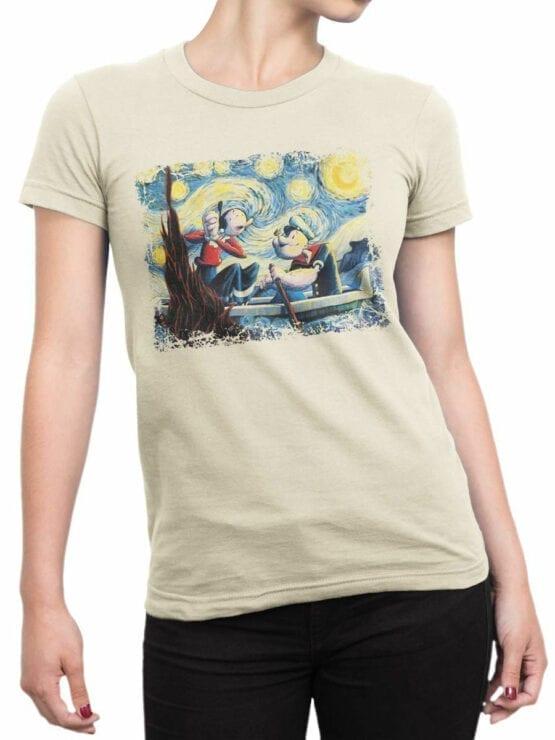 1606 Popeye T Shirt Van Gogh Style Front Woman