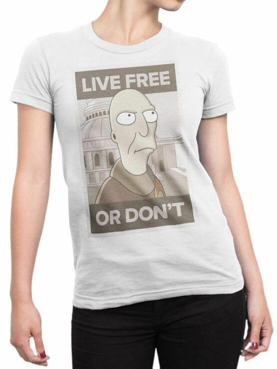 1632 Futurama T Shirt Live Free Front Woman