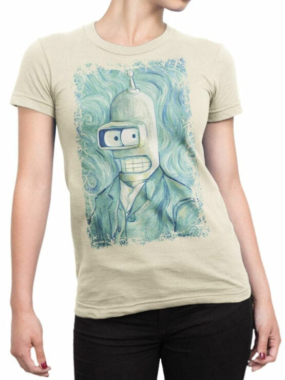 1640 Futurama T Shirt Bender van Gogh Front Woman