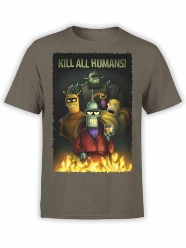 1645 Futurama T Shirt Kill all Humans Front