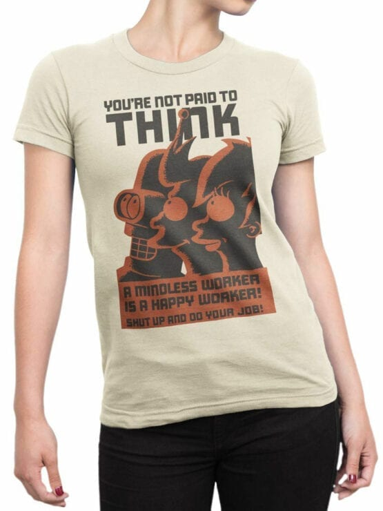 1649 Futurama T Shirt Not Paid for Think Front Woman
