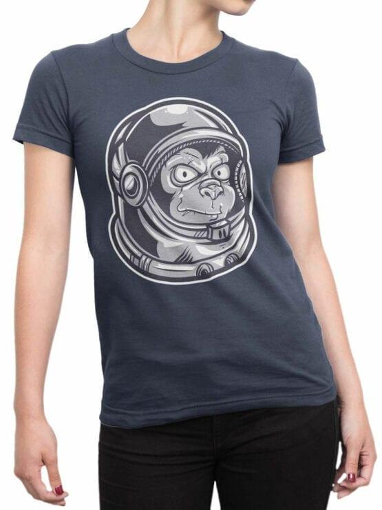 1682 Astro Monkey T Shirt NASA T Shirt Front Woman