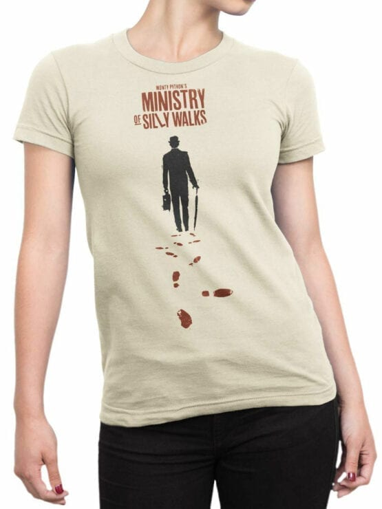 1732 Ministry Of Silly Walks Monty Python T Shirt Front Woman
