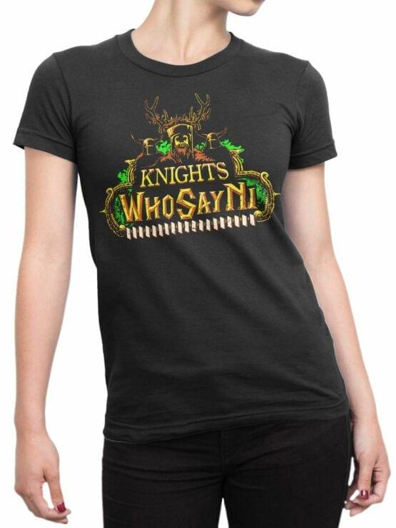 1735 Who Say Ni T Shirt Monty Python T Shirt Front Woman