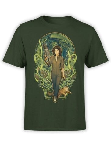 1744 Ripley Mucha Style Alien T Shirt Front