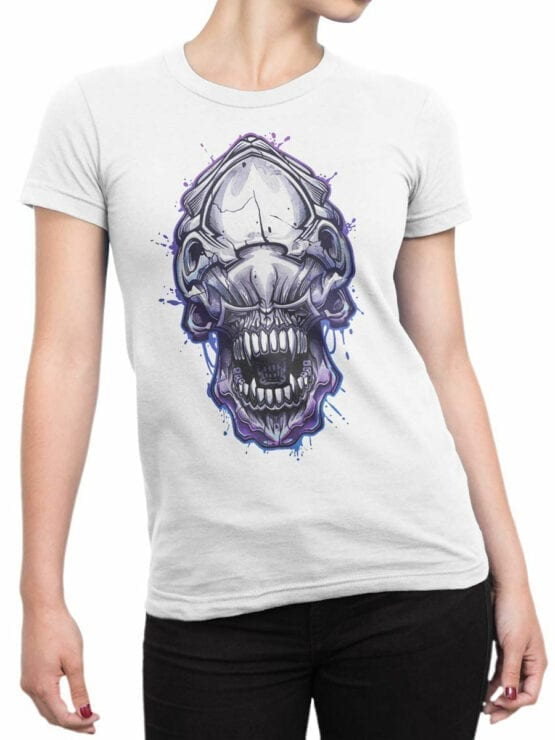 1756 Invader Face T Shirt Funny Alien T Shirt Front Woman