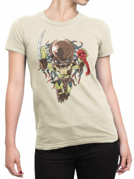 1758 Very Cute Predator T Shirt Funny Alien T Shirt Front Woman