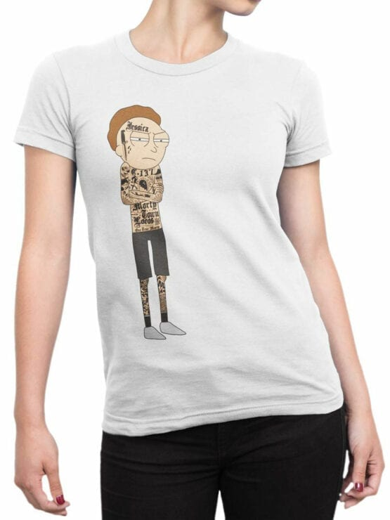 1765 Gangsta Morty Rick and Morty T Shirt Front Woman