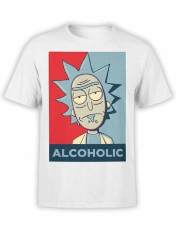 1767 Alcoholic Rick and Morty T Shirt Front