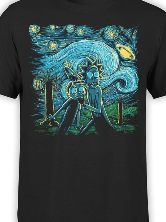 1783 Van Gogh Rick and Morty T Shirt Front Color
