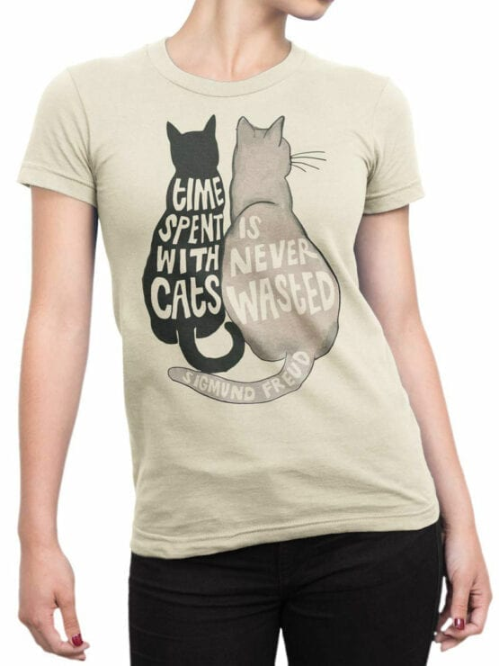 1789 Time is Never Wasted Cat T Shirt Front Woman