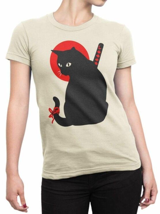 1790 Warrior Samurai Cat T Shirt Front Woman