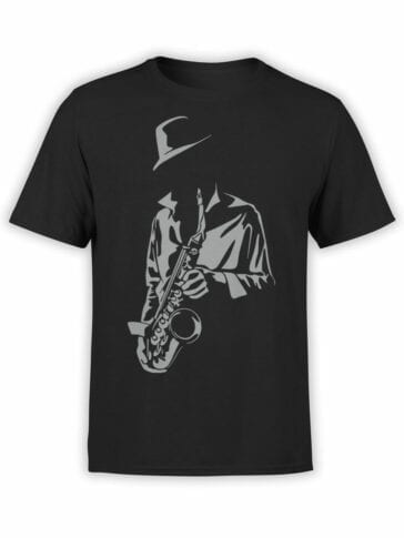 1792 Saxophonist Silhouette T Shirt Front